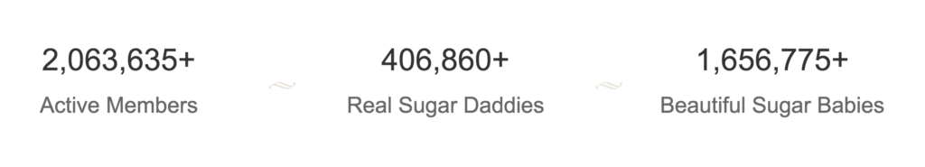SugarDaddyMeet.com has some impressive numbers with over 2 million members of which over 1.6 million are sugar babies.