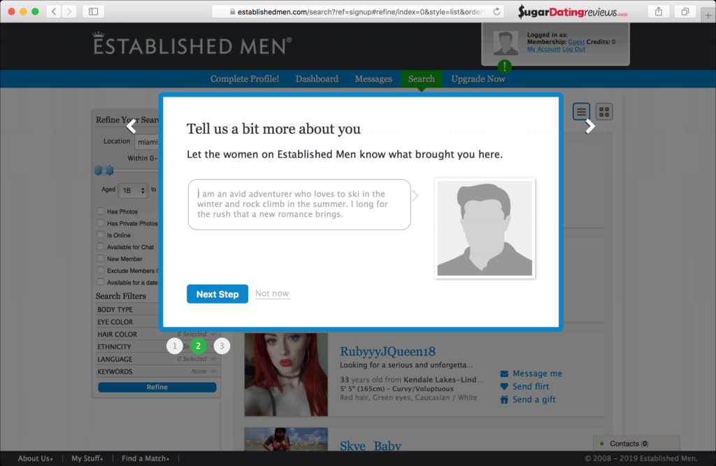 Tell us about yourself - this is your about me on EstablishedMen sugar dating website.