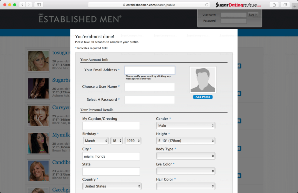 Create your account on the EstablishedMen sugar dating website.