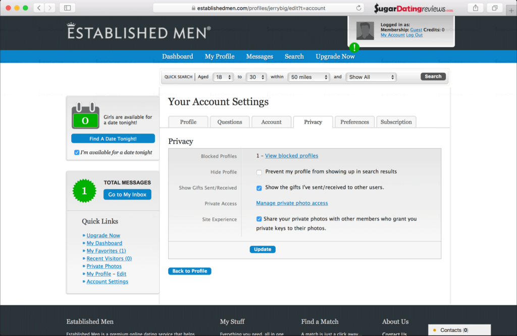 Privacy settings found on the EstablishedMen sugar dating website.