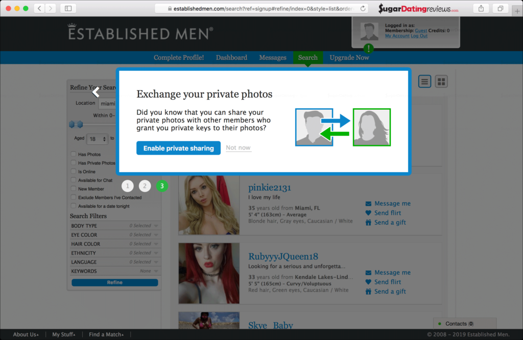 Enable private phots exchange setting on the EstablishedMen sugar dating website.