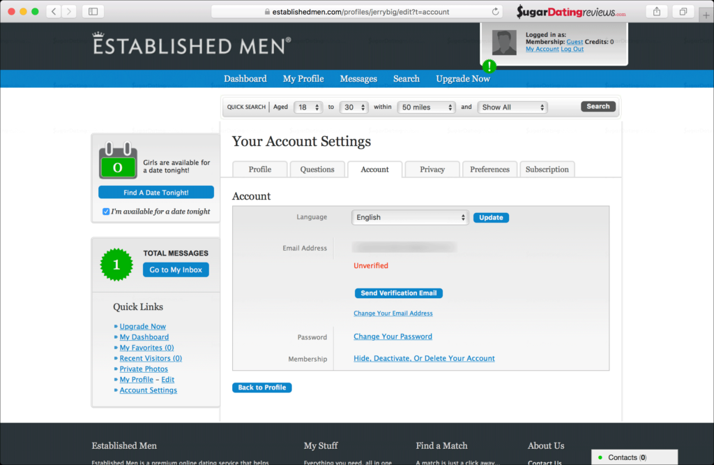Your account has not yet been verified. Please Send Verification Email and Confirm to continue on EstablishedMen.com