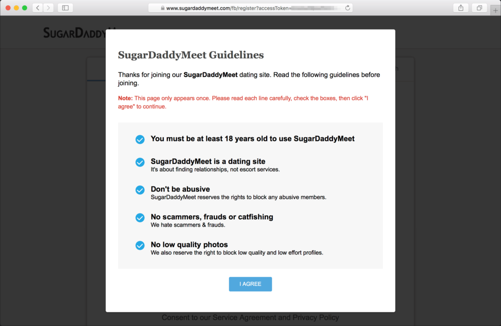 You must agree and follow the community guidelines of SugarDaddyMeet.com