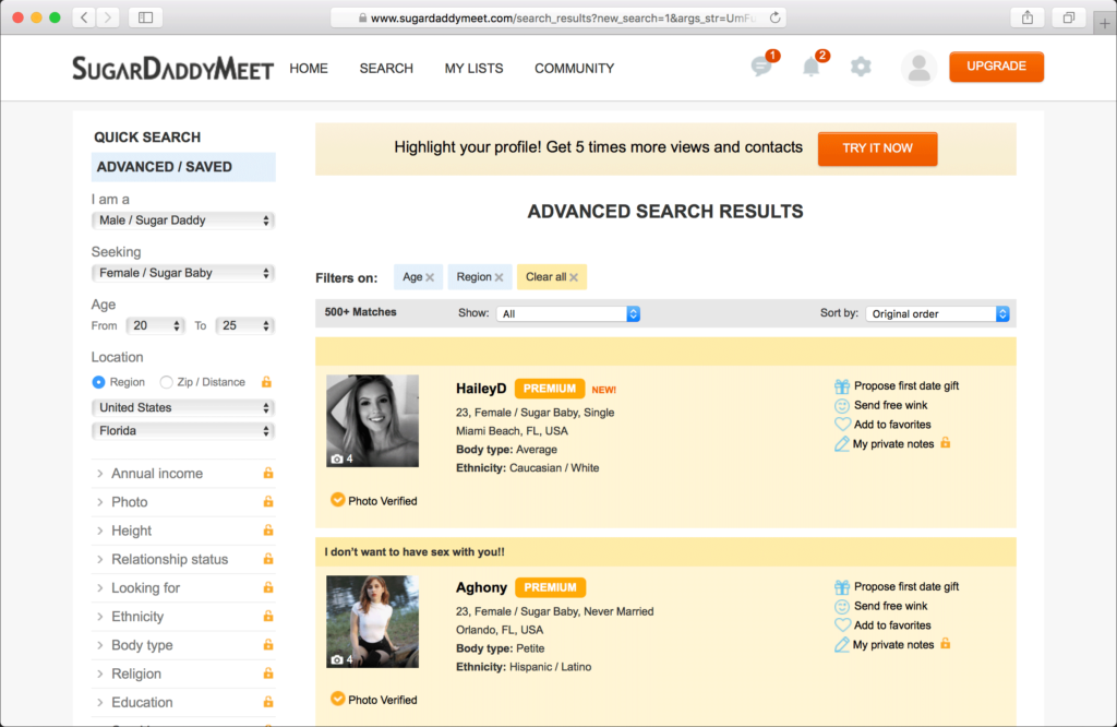 The premium members sure stand out at the top of the search with a highlighted profile