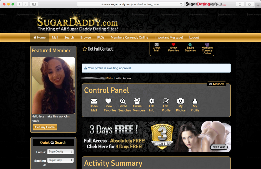Join SugarDady.com and get a free  sugar daddy membership.