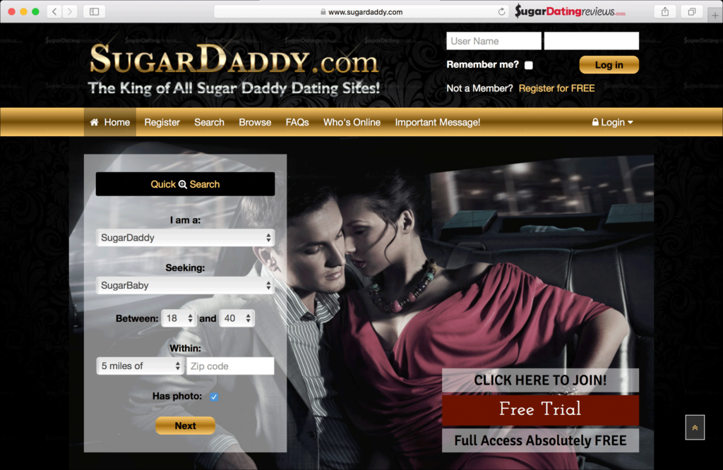 Sugar Dating Review of SugarDaddy.com - this is the homepage.