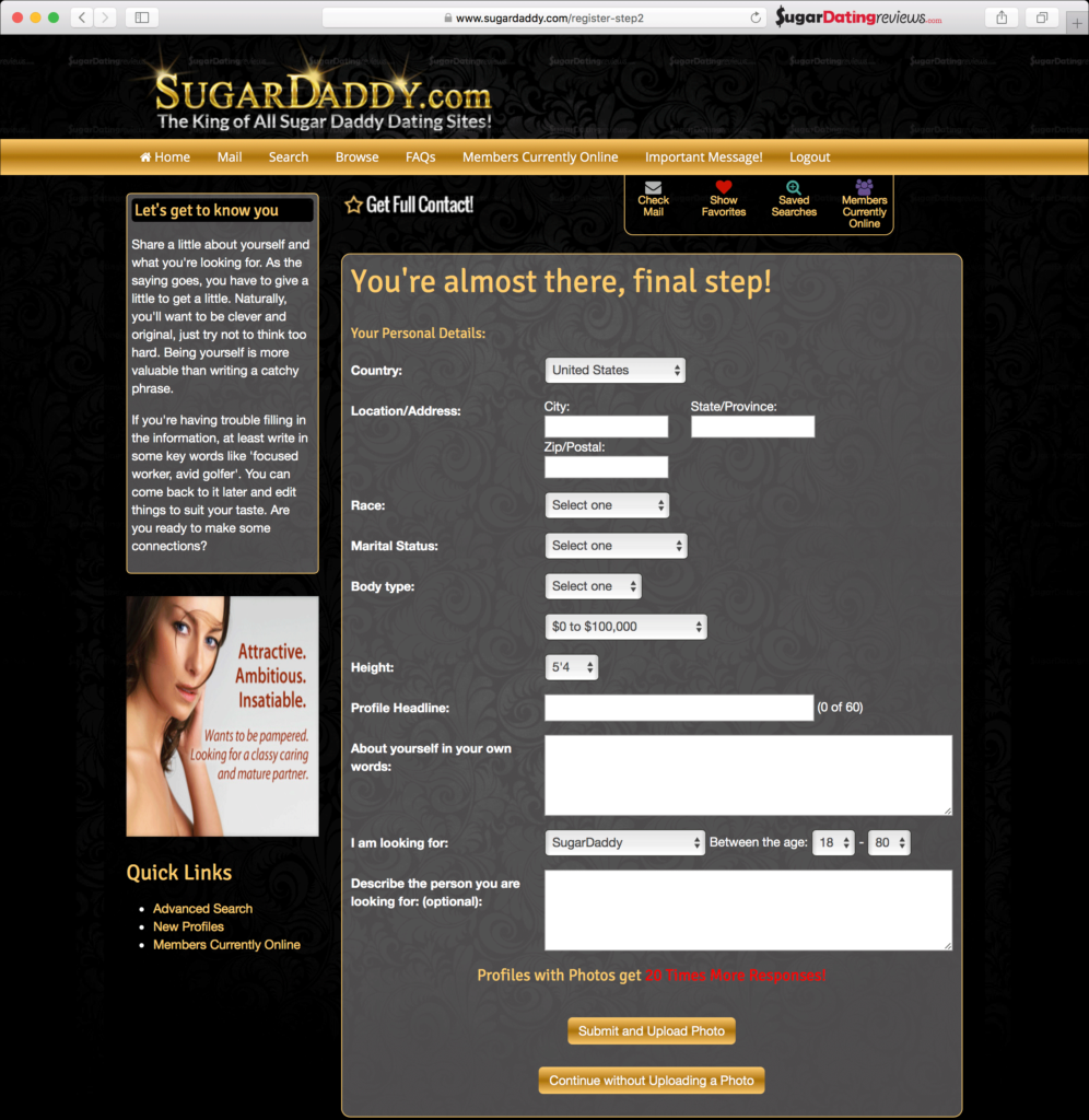 Final step of the registration process for SugarDaddy.com