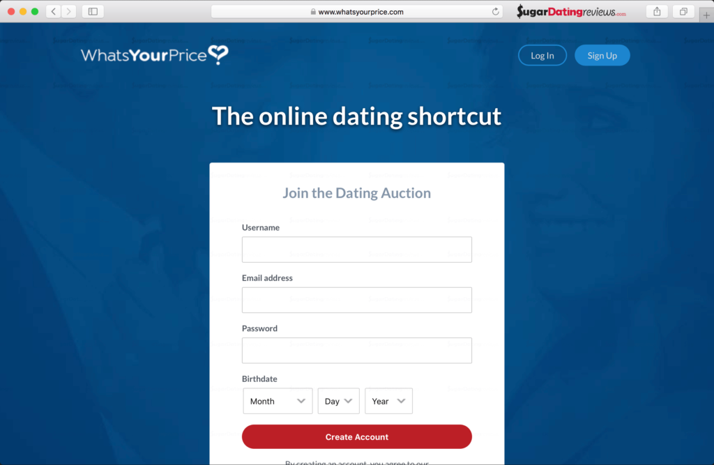 Sign up to WhatsYourPrice - Choose a username. Use a real email address and add your birthdate to create your account.